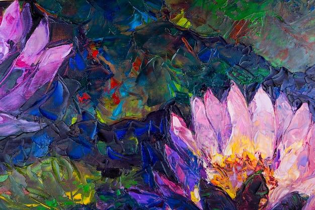 Pintura al óleo de la flor de loto hermoso