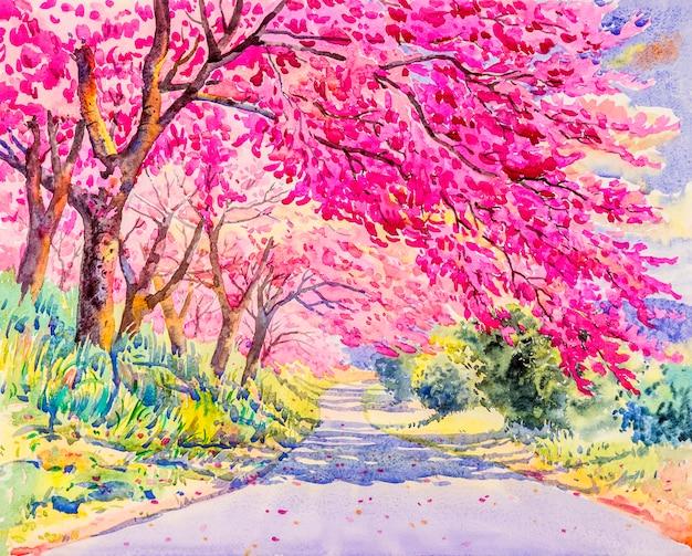 Pintura de color rosa de la flor de cerezo salvaje del himalaya.