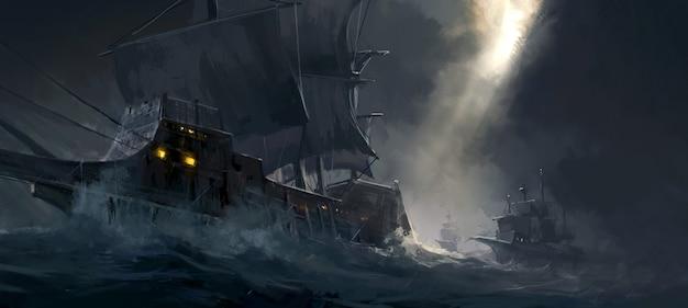 Pintura digital de buques de guerra antiguos que viajan en mares agitados.