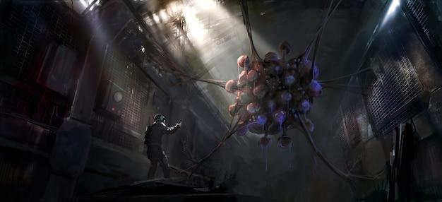 Pintura digital de horribles criaturas con mutaciones genéticas en un laboratorio en ruinas.