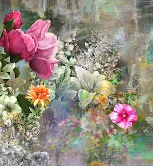 Pintura de flores de colores de arte abstracto. ilustración multicolor de primavera