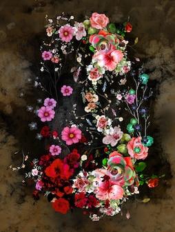 Pintura de flores de colores de arte abstracto.