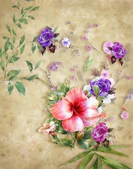 Pintura de flores coloridas de arte abstracto. primavera multicolor