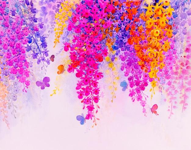 Pintura imaginaria colorida de bellas flores de orquídeas con butterfles