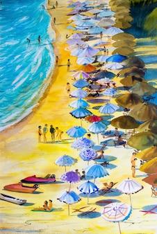 Pintura marina colorida de los amantes de las vacaciones familiares y el turismo.