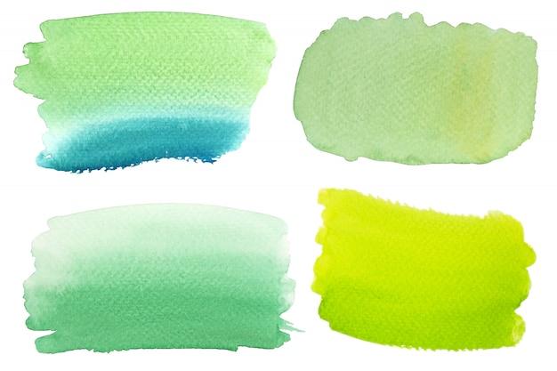 Pintura de salpicaduras de pincel de acuarela en verde y azul