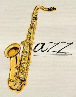 Pintura del saxofón del jazz