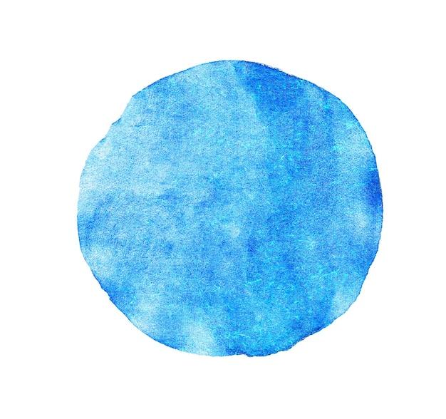 Pintura de textura acuarela círculo azul aislada.