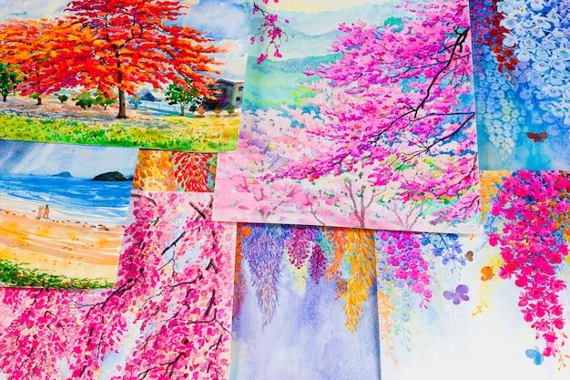 Pinturas de acuarela obras de arte de una fotografía que incluye recuerdos.