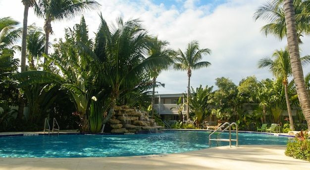Piscina rodeada de palmeras cerca de un hotel