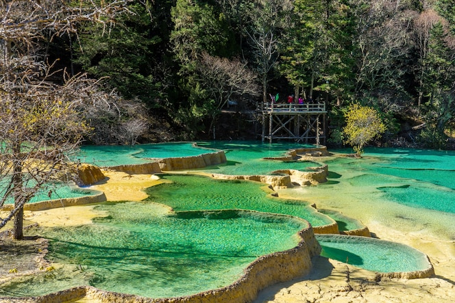 Piscinas de colores en huanglong scenic and historic interest area, sichuan, china