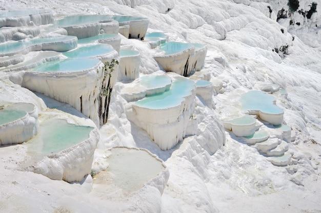 Piscinas de travertino de agua azul cian en la antigua hierápolis, ahora pamukkale, turquía