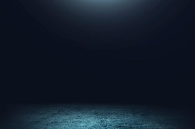Piso de concreto con la luz en la habitación oscura.
