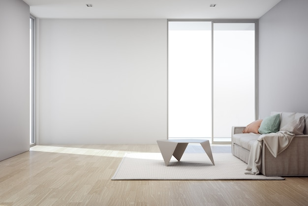 Piso de madera con el fondo gris vacío del muro de cemento en sala de estar en la nueva casa moderna,