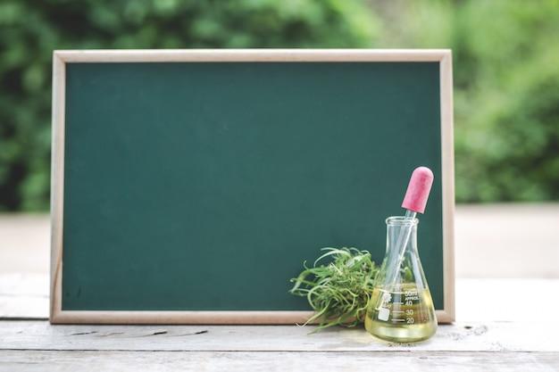 En el piso de madera hay aceite de cáñamo, hoja de cáñamo y el tablero verde está en blanco para poner texto.
