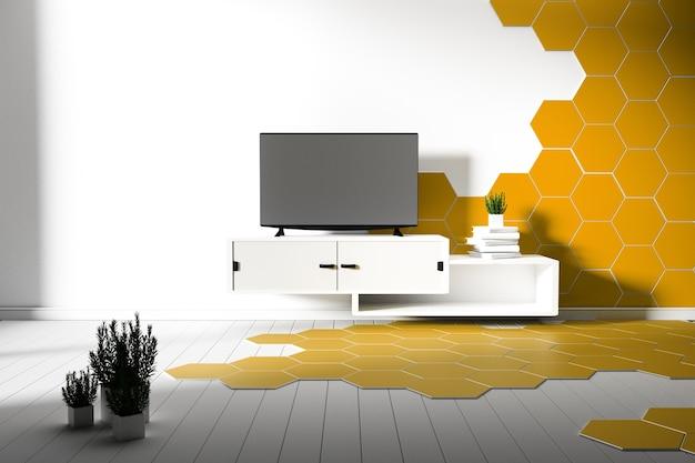 Piso de madera hexagonal color amarillo y blanco - mínimo. representación 3d