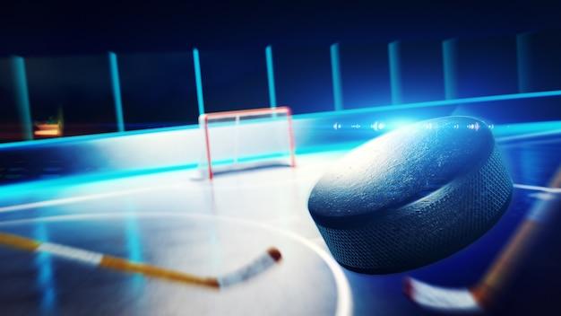 Pista de hielo de hockey y portería