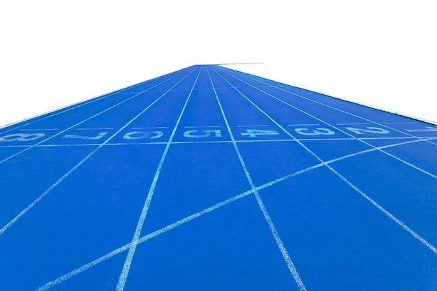 Pistas para correr en el estadio sobre fondo blanco