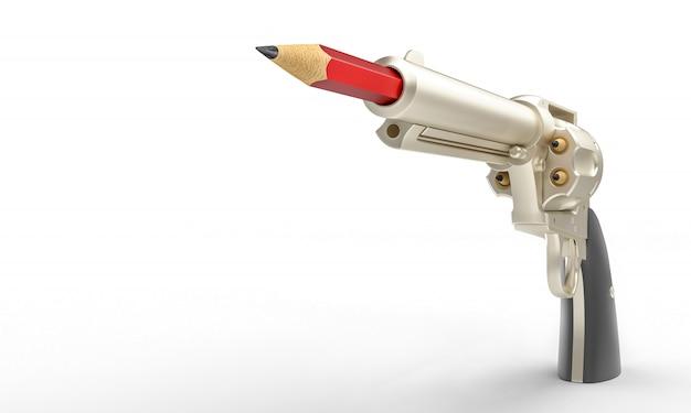 Pistola con lápiz rojo en el cañón, concepto de creatividad.