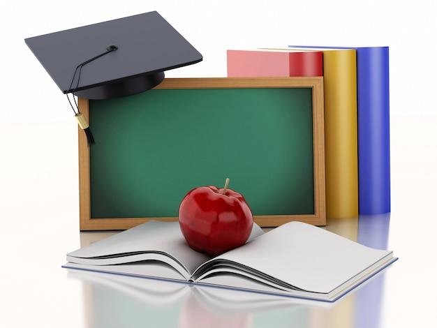 Pizarra 3d con diploma, gorro de graduación y libros.