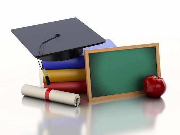 Pizarra 3d con diploma, gorro de graduación y pila de libros.