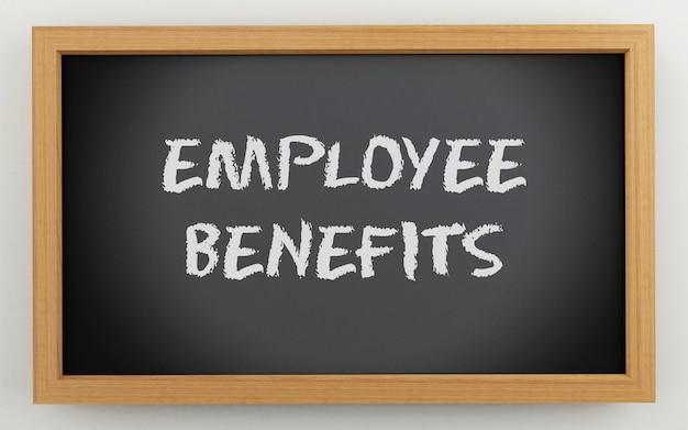 Pizarra 3d con texto de beneficios para empleados