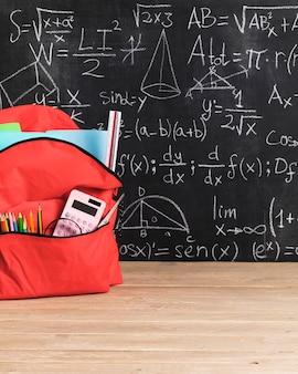 Pizarra con fórmulas matemáticas y mochila escolar roja para niña.