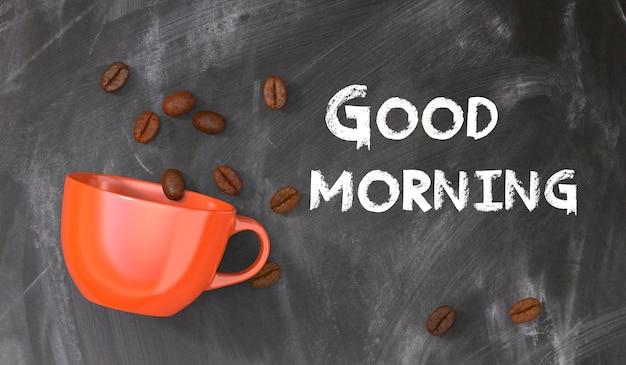 Pizarra con mensaje buenos días con una taza de café naranja y granos de café.