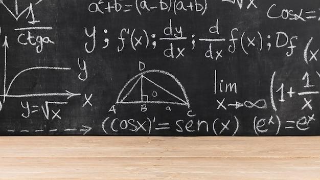 Pizarra negra con problemas matemáticos.