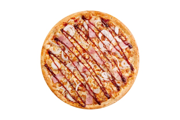 Pizza aislado sobre fondo blanco. comida rápida caliente