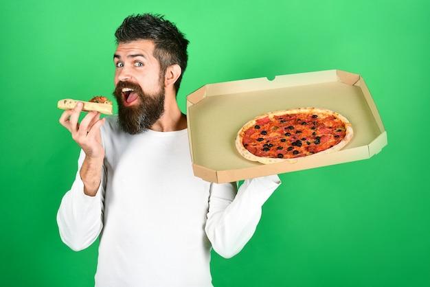 Pizza, comida rápida, comida italiana, cena para estudiantes, hombre hambriento, comer deliciosa pizza, tiene caja entregada