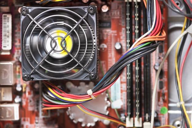 Placa base del ordenador de cerca. concepto de dispositivo informático.