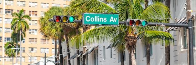 Placa de calle de la famosa collins avenue, miami, florida, ee.uu.