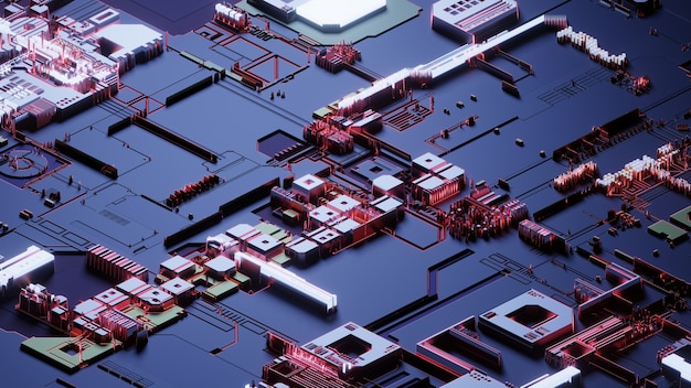 Placa de circuito, fondo de tecnología de red abstracta, renderizado 3d, imagen conceptual.