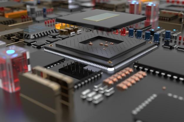 Placa de circuito impreso con microchips, procesadores y otras partes de la computadora.