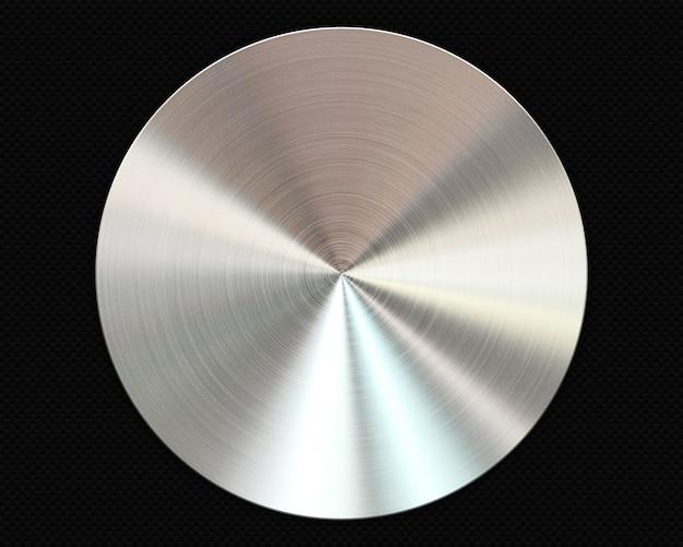 Placa circular de metal cepillado sobre fondo de fibra de carbono
