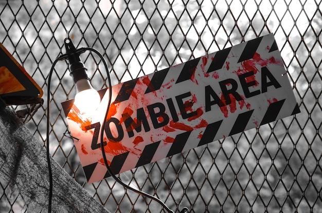 Placa de identificación del área de zombis