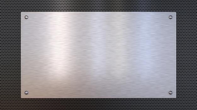 Placa de metal lisa aislada en negro
