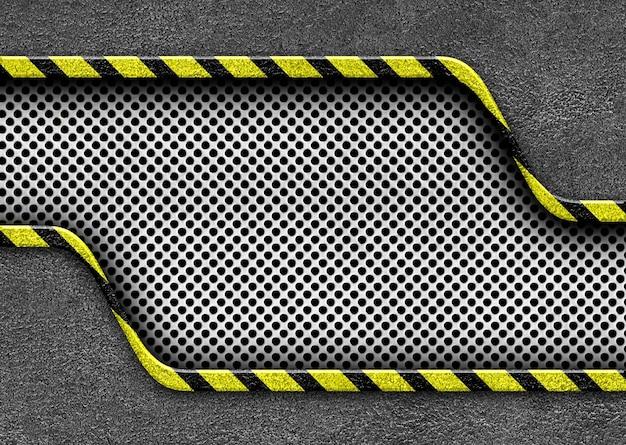 Placa de metal con rayas de advertencia peligro de atención de fondo, ilustración 3d
