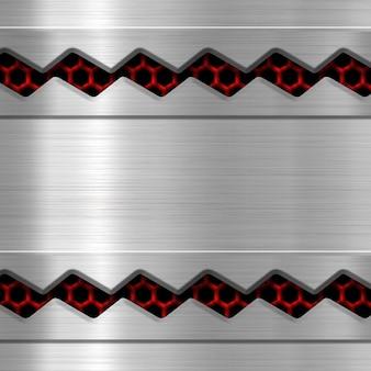 Placa de metal sobre fondo o textura de malla metálica roja