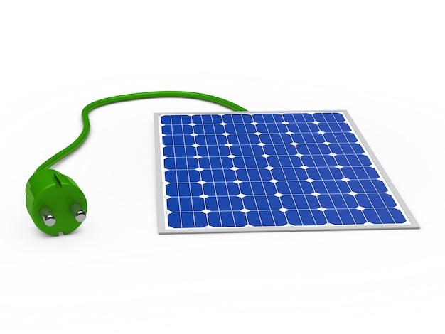 Placa solar con un enchufe verde