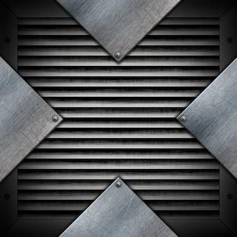 Placas metálicas en una textura metálica.