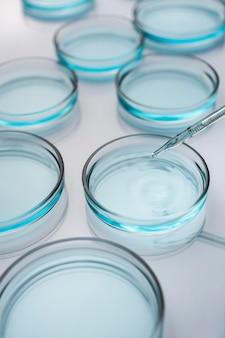 Placas de petri en laboratorio médico con gotero