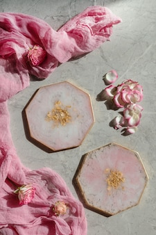 Placas redondas de resina epoxi de color rosa
