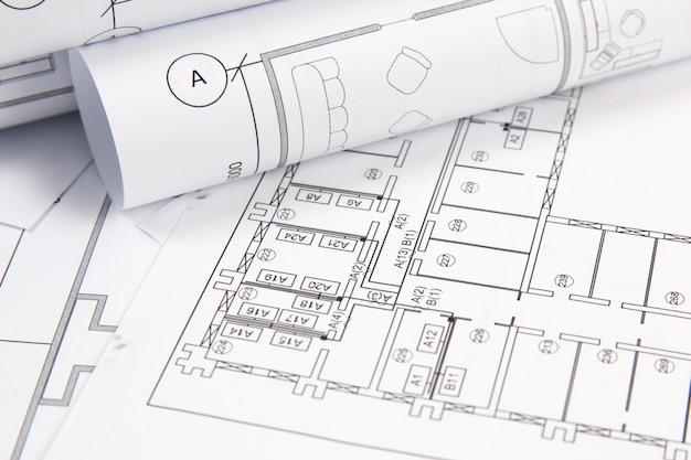 Plan arquitectonico. dibujos de la casa de ingeniería y planos.