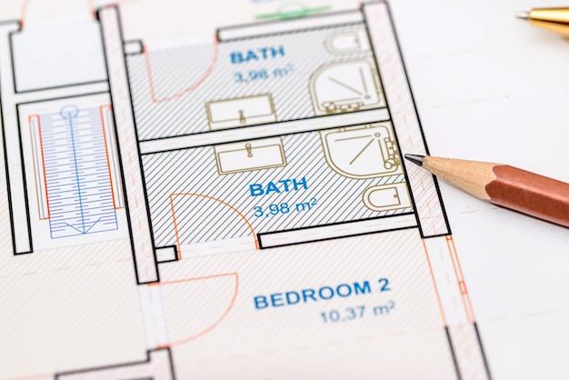 Plan arquitectónico con lápiz