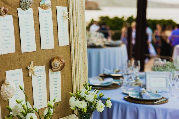 Plan de asientos marinos para la boda
