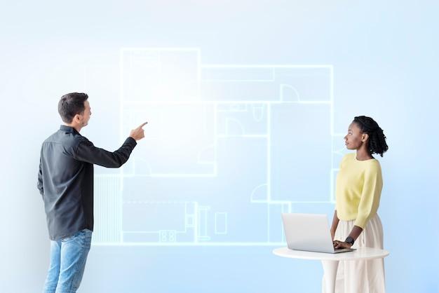 Plan de construcción holograma tecnología de construcción inteligente.