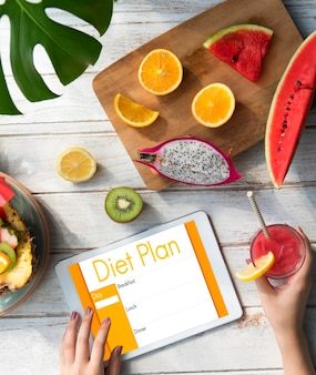 Plan de dieta nutrición concepto de restricción de selección de alimentación