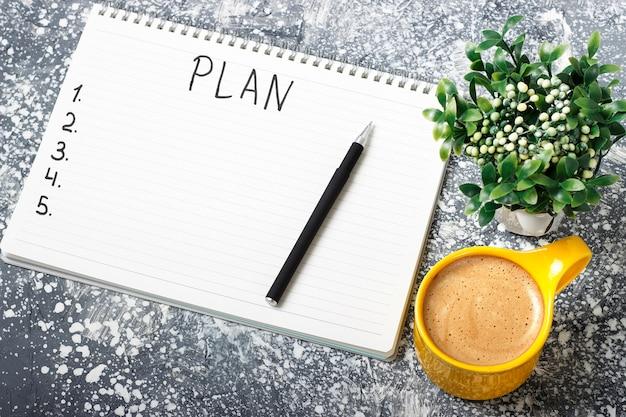 Plan de inscripción en el bloc de notas